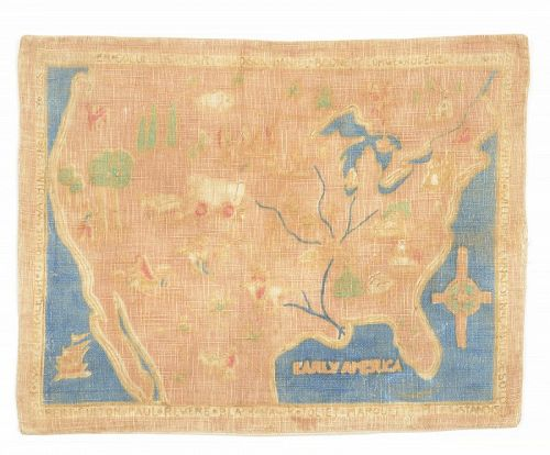 Hand Painted Fabric Map of United States; Circaa 1920