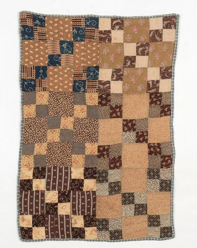 Four Patch Doll Quilt: Circa 1870