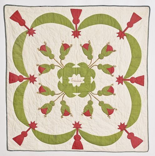 Appliqued Crib Quilt with Embroidered Name Emma: Circa 1860