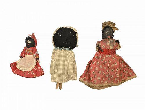Three Clothes Pin Dolls; Circa 1900; Pennsylvania