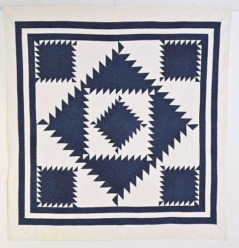 Indigo Sawtooth Diamond Quilt: Circa 1880