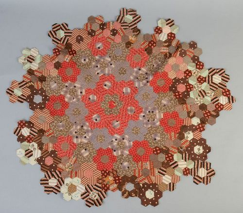 Calico Hexagons Fragment: Circa 1870