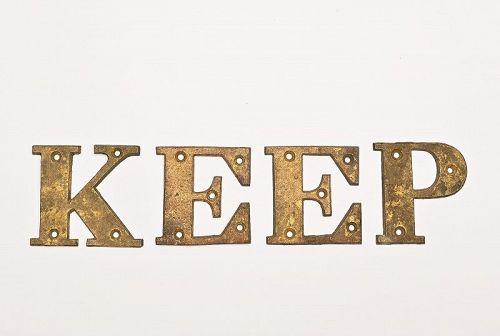 Metal Letters Spelling Keep or Peek