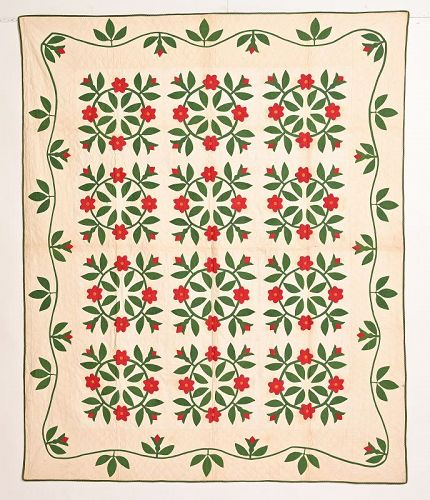 Rose Wreaths Quilt: Circa 1870; Pennsylvania