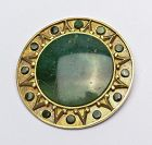 Ledesma Gold Brooch with  Green Agate