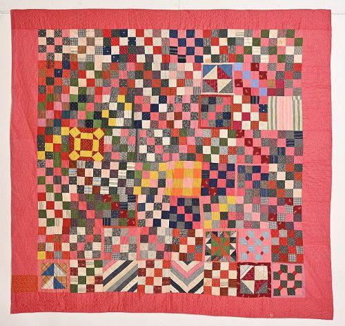 Nine Patch/ Sampler Quilt: Circa 1880; Pennsylvania