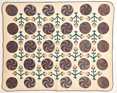 Swirling Pinwheels Quilt with Applique: Circa 1870; Missouri