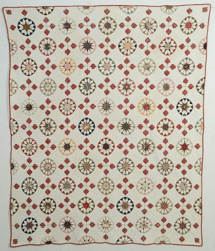 Rising Suns and Hearts Quilt: Circa 1850; New York