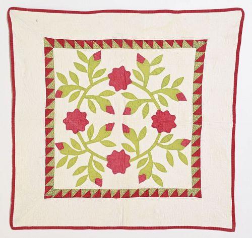 Rose Wreath Crib Quilt: Circa 1860; Pennsylvania