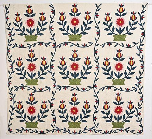 Love Apple Quilt: Circa 1870; New York