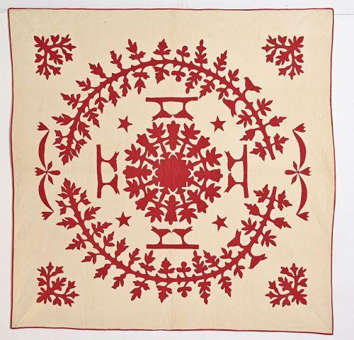 Center Medallion Applique Quilt with Lovebirds: Circa 1880; Pennsylvan