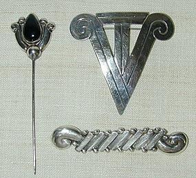 3 Hector Aguilar Silver Pins; Circa 1950