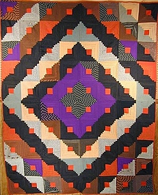 Reversible Barnraising/ One Patch Quilt; Circa 1880