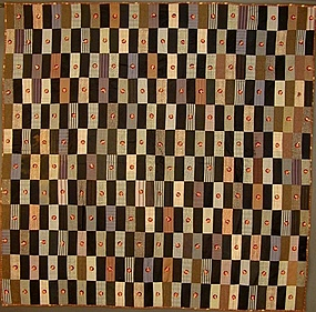 Wool Bricks Comforter: Pennsylvania; Circa 1890