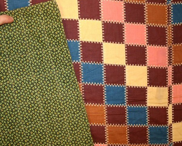 Cheater's Cloth Straight Furrows Quilt: Ca. 1880; Pa.