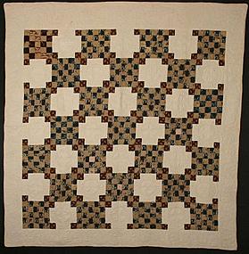 Twentyfive Patch/Chain Quilt: Circa 1850; Pennsylvania