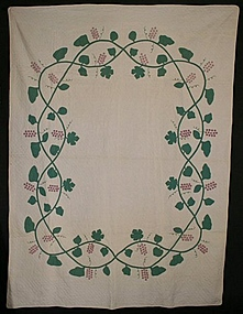 Grapes Quilt: Circa 1920; Vermont origin