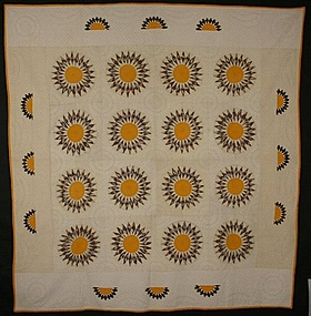 Sunflower/ Rising Sun Quilt: Circa 1890; Pennsylvania