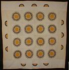 Sunflower/ Rising Sun Quilt: Circa 1890; Pennsylvania