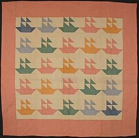 Sail Boats Quilt: Circa 1930; Pennsylvania