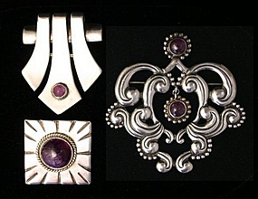 Mexican Silver Brooches with Amethyst
