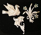 Mexican Silver with Turquoise Brooches