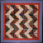 Streak of Lightning Log Cabin Quilt: Circa 1880; Pa.