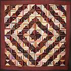 Silk Barnraising Log Cabin Quilt: Circa 1890; Pa.