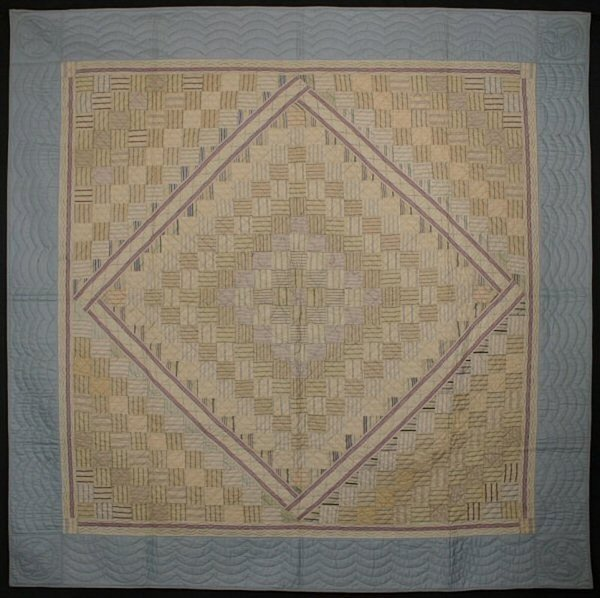 Shirting One Patch Diamond in Square Quilt: Ca. 1920