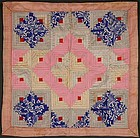 Silk Log Cabin Doll Quilt: Circa 1920; Pa.