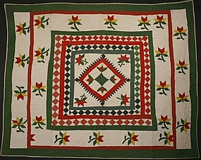 Framed Center Medallion Quilt: Circa 1870; Maryland