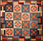 Mennonite Turkey Tracks Quilt: Circa 1920; Ohio
