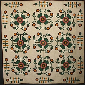 Rose of Sharon Quilt: Circa 1870; Maine