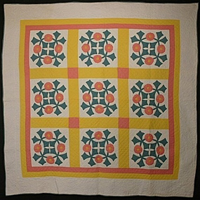 Floral Wreath Applique Quilt: Circa 1920; Pennsylvania