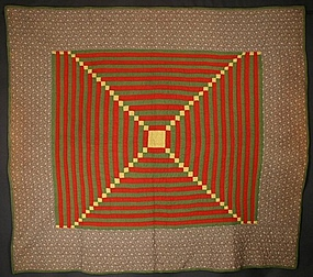 Central Log Cabin Quilt: Circa 1880; Pennsylvania