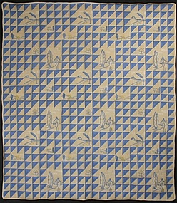Thousand Pyramids Quilt with Embroidery; Ca. 1930