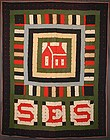 Wool Schoolhouse Quilt: Circa 1910