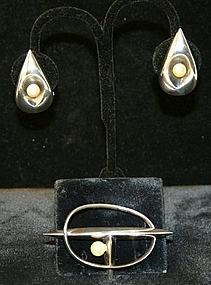 Antonio Pineda Sterling with Pearls Earrings and Brooch
