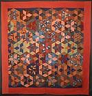 Tumbling Blocks/ Stars Quilt: Circa 1890; Pennsylvania