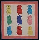 Cats Crib Quilt: Circa 1930; Pennsylvania