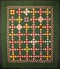 Nine Patch Quilt with Zigzag: Circa 1880; Pennsylvania