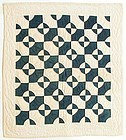 Navy and White Mill Wheel Crib Quilt, Ca 1890