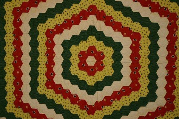Huge Hexagons Quilt: Circa 1870; Pennsylvania