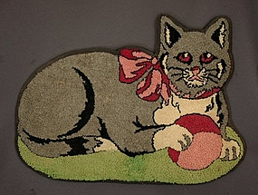 Cat Hooked Rug: Circa 1940; Pennsylvania