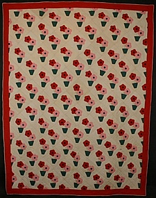Pots of Flowers Quilt: Circa 1930; Pennsylvania