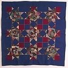 Crazy Stars Mennonite Quilt, Ca 1890
