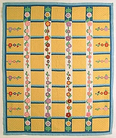 Hollyhocks Quilt Dated 1944, Pennsylvania