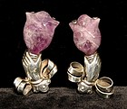 Pair of William Spratling Hands Holding Tulips Brooches