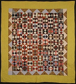 Four Patch in Diamond Quilt: Circa 1880; Pennsylvania