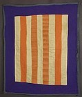 Lancaster County Amish Bars Crib Quilt: Circa 1950